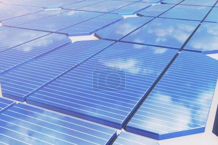 Foto de Reflexión de Ilustración 3D de las nubes en las células fotovoltaicas. Paneles solares azul sobre la hierba. Fuente de electricidad alternativa del concepto. Eco energía, energía limpia. - Imagen libre de derechos