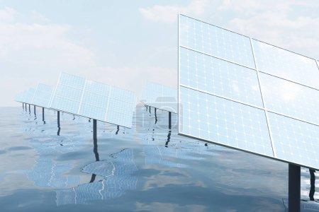Photo pour Illustration 3D de grands panneaux solaires sur mer, océan ou rivière. Réflexion des nuages sur les cellules photovoltaïques. Énergie propre alternative du soleil. Énergie, écologie, technologie, électricité - image libre de droit