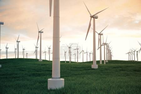 Photo pour 3D illustration, éolienne avec ciel coucher de soleil. Énergie et électricité. Énergies alternatives, eco ou générateurs de verts. Alimentation, écologie, technologie, électricité - image libre de droit