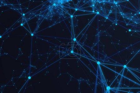 Photo pour Connexion technologique forme futuriste, réseau de points bleus, fond abstrait, fond bleu, rendu 3D - image libre de droit
