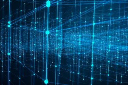 Photo pour Connexion technologique forme futuriste, réseau à points bleus, fond abstrait, fond bleu, Concept de réseau, communication internet, rendu 3D - image libre de droit