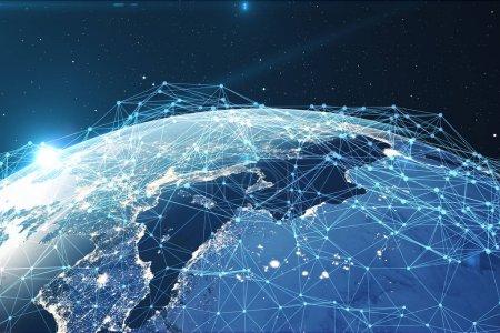 Photo pour Rendu 3D exchange Network et données sur la planète terre dans l'espace. Connexion des lignes autour de la planète terre. Connectivité internationale globale. Éléments de cette image fournie par la Nasa - image libre de droit
