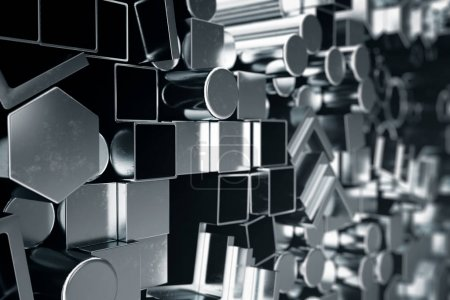 Photo for Cylindrical metal steel profiles, hexagonal metal steel profiles, square metal steel profiles. Different stainless steel products. 3D illustration - Royalty Free Image