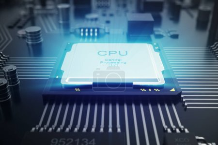 Photo for 3D rendering Circuit board. Technology background. Central Computer Processors CPU concept. Motherboard digital chip. Tech science EDA background. Integrated communication processor. Information CPU engineering - Royalty Free Image
