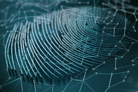 Photo for Fingerprint Scanning Identification System. Fingerprint scan provides security access with biometrics identification, 3D Rendering - Royalty Free Image