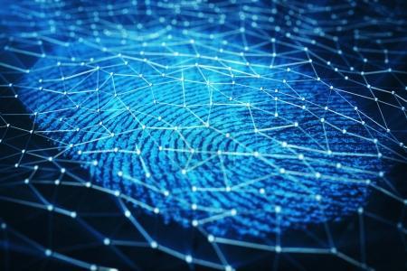 3D rendering Fingerprint Scanning Identification System. Fingerprint scan provides security access.
