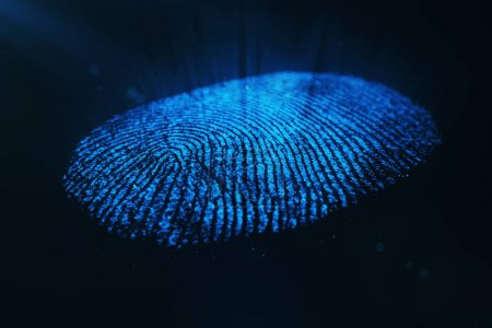 3D-Rendering-Fingerabdruck-Identifikationssystem. Fingerabdruck-Scan bietet Sicherheitszugriff.