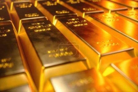 Photo pour Empilez Fermer Barres d'or, poids des barres d'or 1000 grammes Concept de richesse et de réserve. Concept de réussite en affaires et en finance. Illustration 3D - image libre de droit