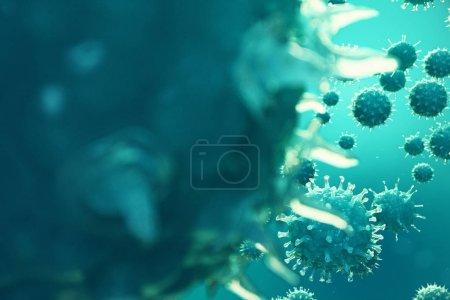 Photo pour Illustration 3d infection virale causant une maladie chronique. Virus de l'hépatite, virus de la grippe H1N1, grippe, organisme infecté par les cellules, aides. Virus fond abstrait . - image libre de droit