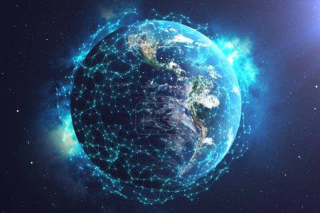 Photo pour Rendu 3D exchange Network et données sur la planète terre dans l'espace. Connexion des lignes autour de la planète terre. Connectivité internationale mondiale, éléments de cette image fournie par la Nasa - image libre de droit