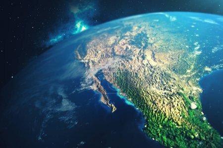 Photo pour 3D rendu Globe terrestre depuis l'espace dans un champ d'étoiles montrant nuit ciel avec les étoiles et nébuleuse. Vue de la terre depuis l'espace. Éléments de cette image fournie par la Nasa - image libre de droit