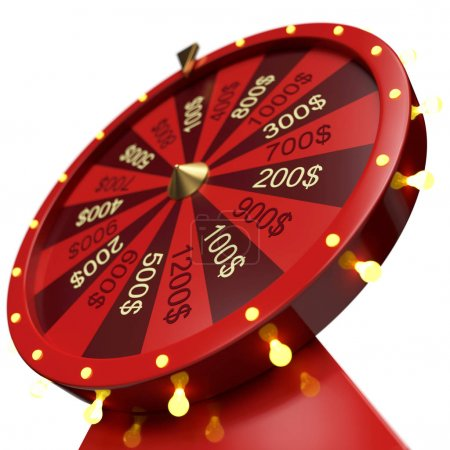 Photo for 3d illustration red wheel of luck or fortune. Realistic spinning fortune wheel. Wheel fortune isolated on white background - Royalty Free Image