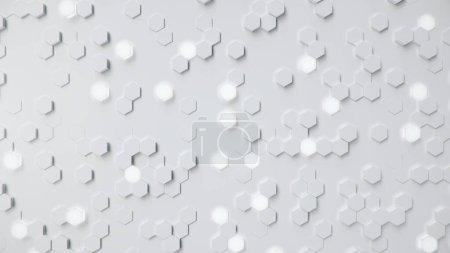 Foto de White geometric hexagonal abstract background. Surface polygon pattern with glowing hexagons, hexagonal honeycomb. Abstract white self-luminous hexagons. Futuristic abstract background 3D Illustration - Imagen libre de derechos