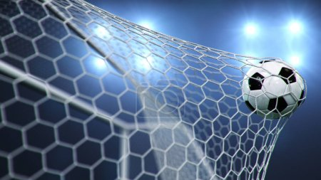 Photo pour Soccer ball flew into the goal. Soccer ball bends the net, against the background of flashes of light. Soccer ball in goal net on blue background. A moment of delight, 3D illustration - image libre de droit