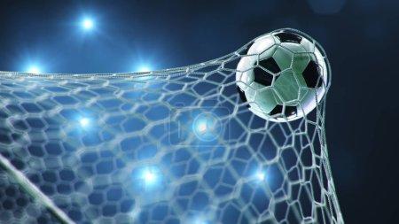 Der Ball flog ins Tor. Fußball biegt das Netz, vor dem Hintergrund von Lichtblitzen. Fußball im Tornetz auf blauem Hintergrund. ein Moment der Freude. 3D-Illustration