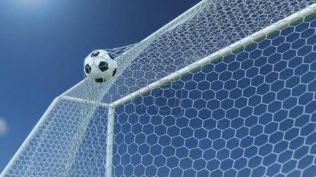 Photo pour Illustration 3D Ballon de football a volé dans le but. Ballon de football plie le filet, sur le fond de ciel bleu. Ballon de football dans le filet de but sur un beau fond de ciel. Moment de délice . - image libre de droit
