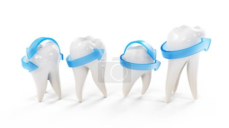 Photo for Healthy protected teeth isolated on white background. Set of teeth. The concept of toothbrushing, care and protection against caries. Oral care Teeth whitening, 3d illustration - Royalty Free Image