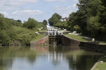 Flight of locks along a canal in Devizes Wiltshire UK