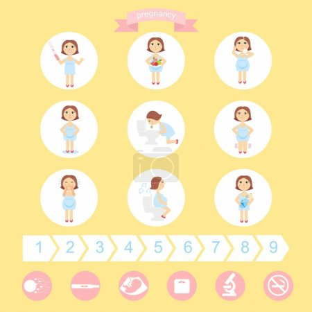 vector illustration signs of pregnancy symptoms - toxemia of pregnancy, swelling, emotional instability, stomach problems. mom and baby. isolated on white background