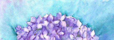 Foto de Ilustración de composición acuarela flor hortensia flores naturaleza lila. - Imagen libre de derechos