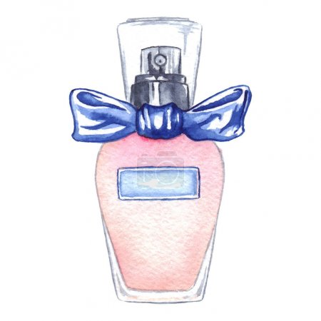 Photo for Watercolor women's perfume bottle eau de parfum isolated. - Royalty Free Image