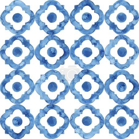 Foto de Modelo de acuarela blanca y azul. Impresión sin costuras para los textiles. Fabricado a mano. Ordenación dibujada por pincel sobre papel. - Imagen libre de derechos