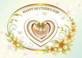 Greeting card with flowers and ornaments for Mother's Day Vector illustration