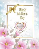 Romantic card with pink flowers and heart for Mother's Day  Vector illustration