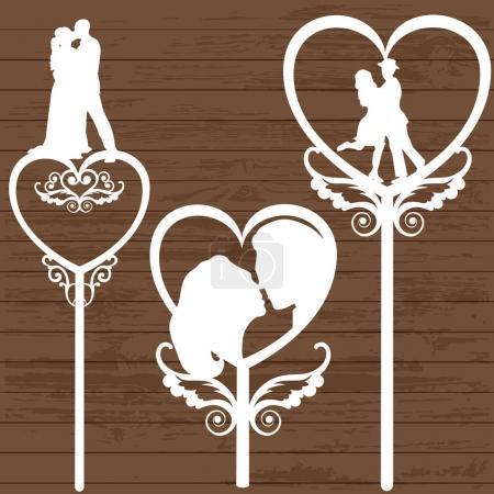 Illustration pour Silhouette d'un couple pour un topper de mariage - image libre de droit