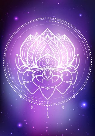 Illustration for Vector neon illustration of lotus with boho pattern - Royalty Free Image