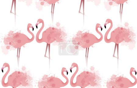 Seamless texture of flamingos
