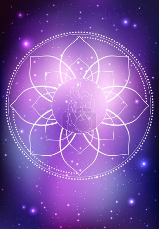 Illustration for Vector illustration of a hand of  Buddha and frame of lotus on the cosmic background. Vector element for your creativity - Royalty Free Image