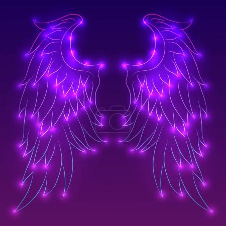 Vector neon illustration of angel wings