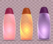 Set realistic illustration of different colored bottles of shower gel Mocap for your design