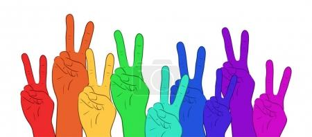 Illustration of multi colored rainbow hands