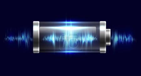 Illustration pour Batterie d'illustration avec charge électrique, résonance, impulsion - image libre de droit