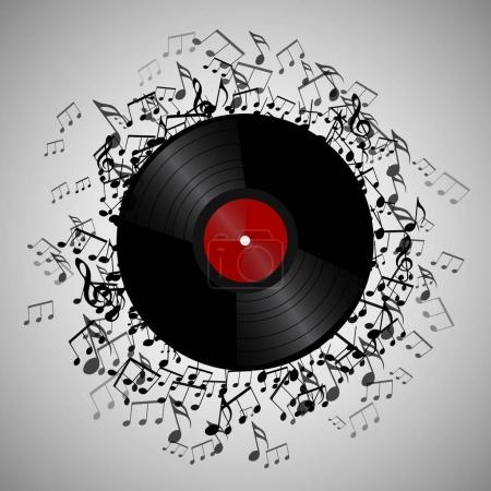 vinyl record with music notes.
