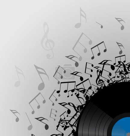vinyl record with music notes