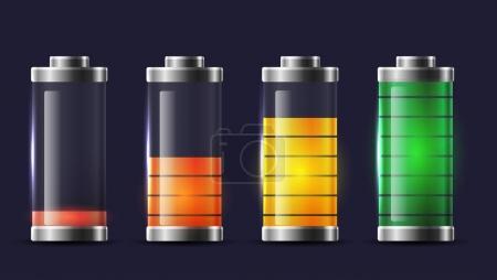 Illustration pour Ensemble de différents types de batteries transparentes charge. Élément vectoriel pour interface de téléphonie mobile, éléments du site et votre design - image libre de droit