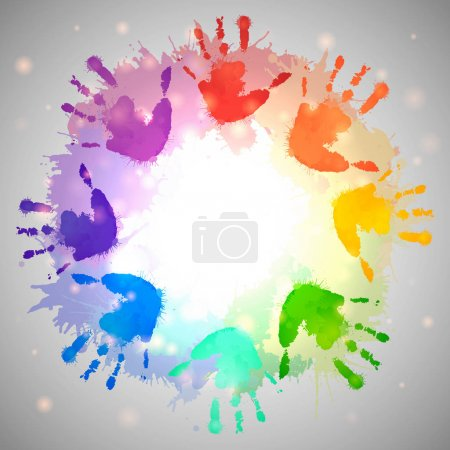 Illustration for Rainbow prints of children hands and watercolor splashes in form of circle - Royalty Free Image