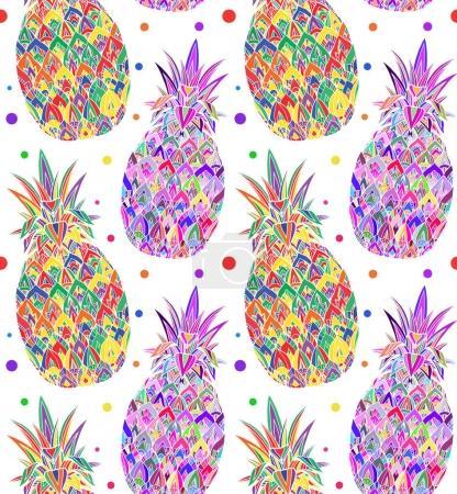 doodle texture with pop art pineapples