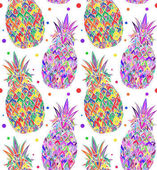 doodle texture with pop art pineapples