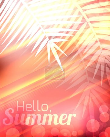 Summer greeting card with palm branches