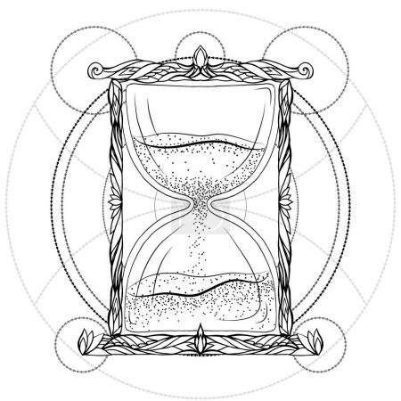 Black and white illustration of hourglass