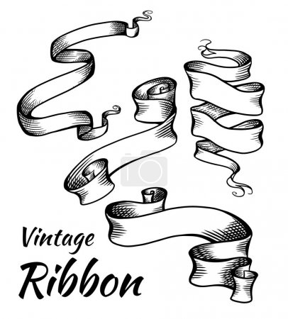 Illustration for Set of vintage black and white ribbons with a hatch. Parchment scrolls. The object is separate from the background. Vector template for articles, banners, cards and your design. - Royalty Free Image
