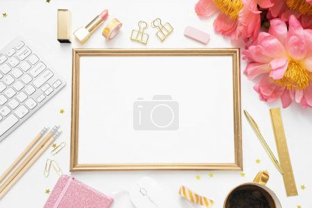 Photo for Flat lay, top view office table desk. feminine desk workspace - Royalty Free Image