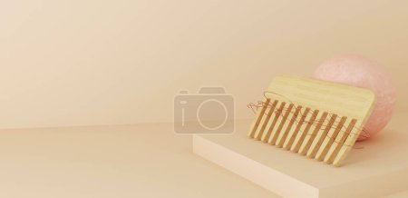 Photo for 3d rendered illustration of hair loss concept. Hair comb with damaged hair , space for text - Royalty Free Image
