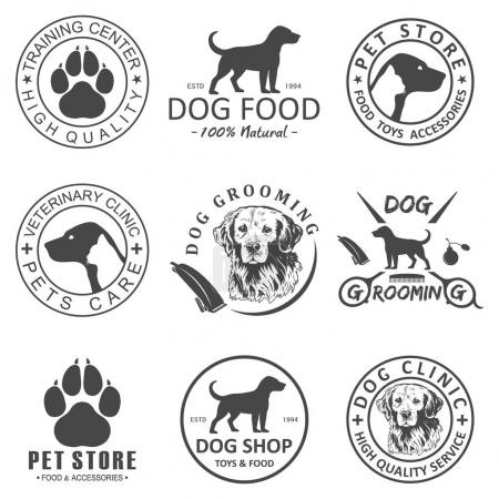 Set of vector dog logo and icons for dog club or shop, grooming, training