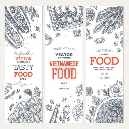 Illustration for Vietnamese food banner collection. Linear graphic. Vector illustration - Royalty Free Image