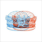 Fast food anaglyph hipster template Linear graphic Snack collection Junk food Engraved illustration Vector illustration